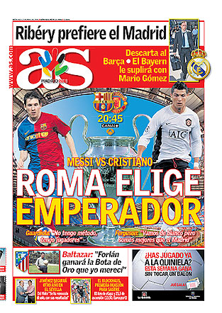 A inspirada capa desta quarta-feira do tablóide espanhol As, segundo melhor jornal esportivo do mundo - o primeiro é o Bola, evidentemente. Se o imperador sairia da grande final, como previa o As, o eleito foi Messi.