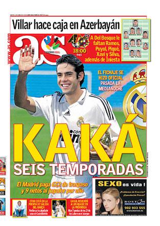 Kaká, na composição fotográfica do As já com a camisa do Real, assinou contrato com o clube de Madri até 2015. O Milan soltou nota agradecendo pelos serviços prestados.