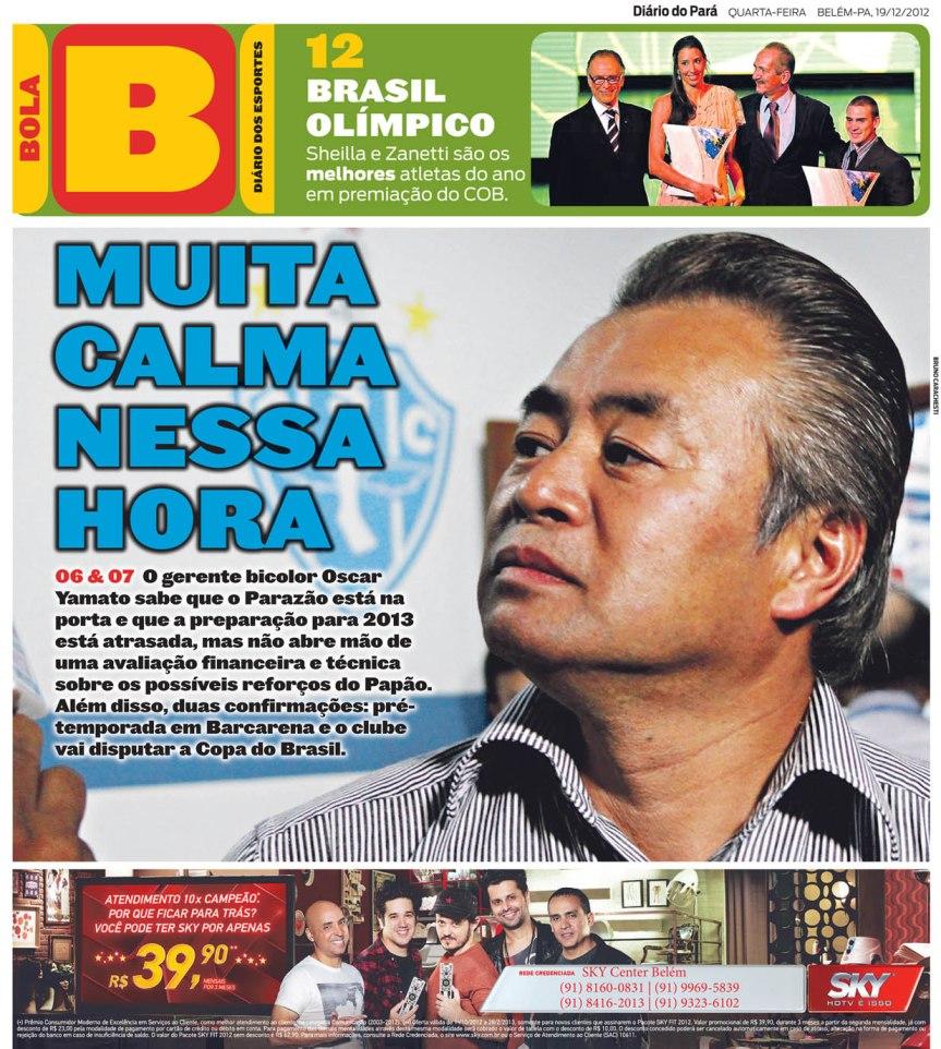 Capa do Bola, edição de quarta-feira, 19.