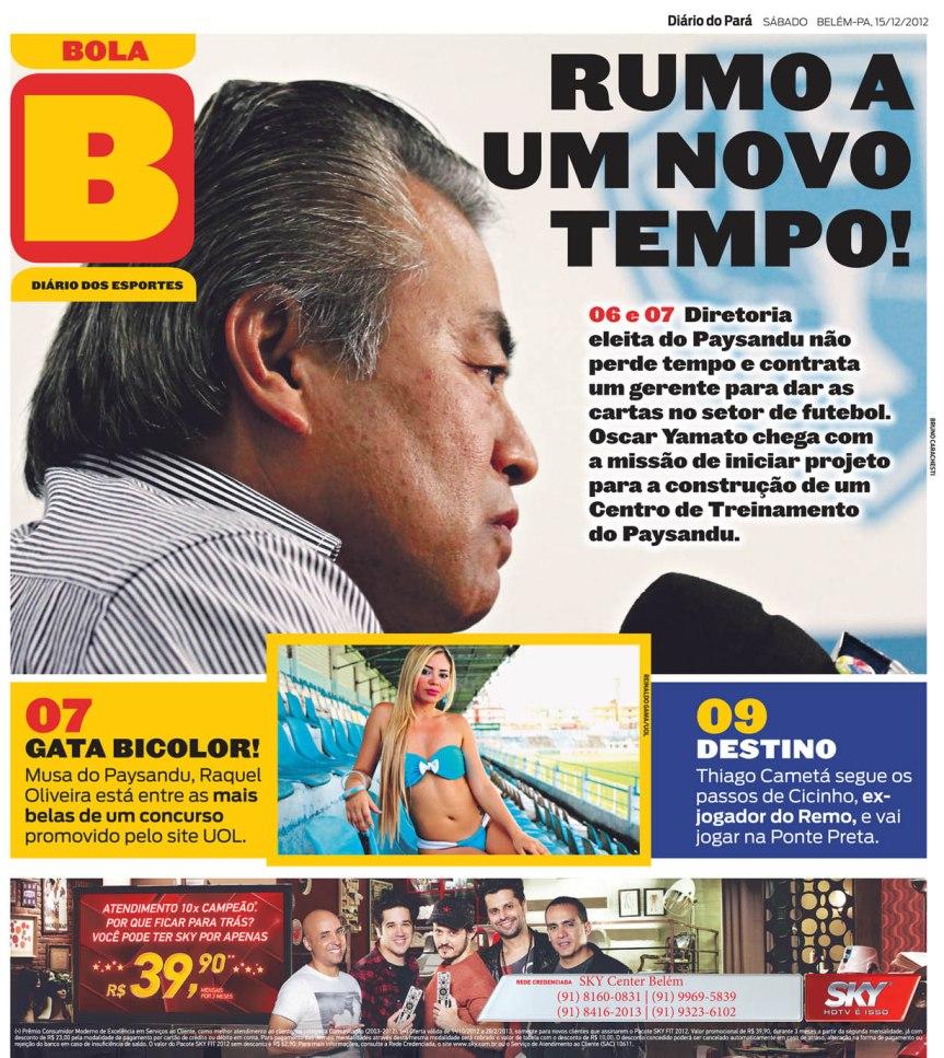 Capa do Bola, edição de sábado, 15