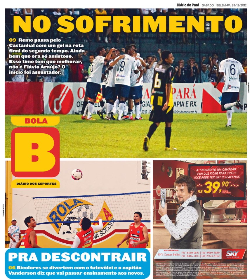 Capa do Bola, edição de sábado, 29
