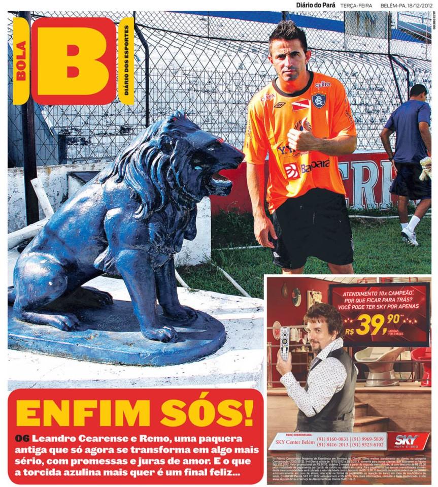 Capa do Bola, edição de terça-feira, 18
