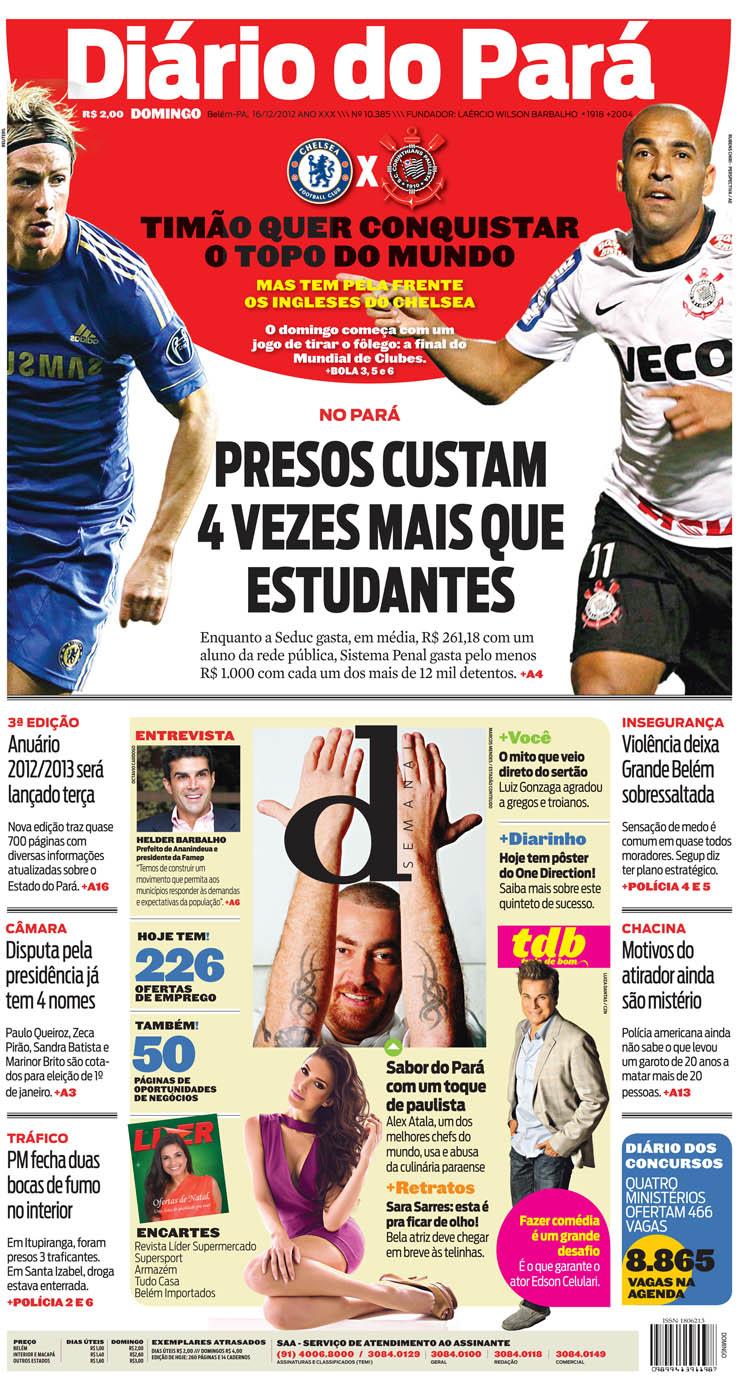 Capa do DIÁRIO, edição de domingo, 16