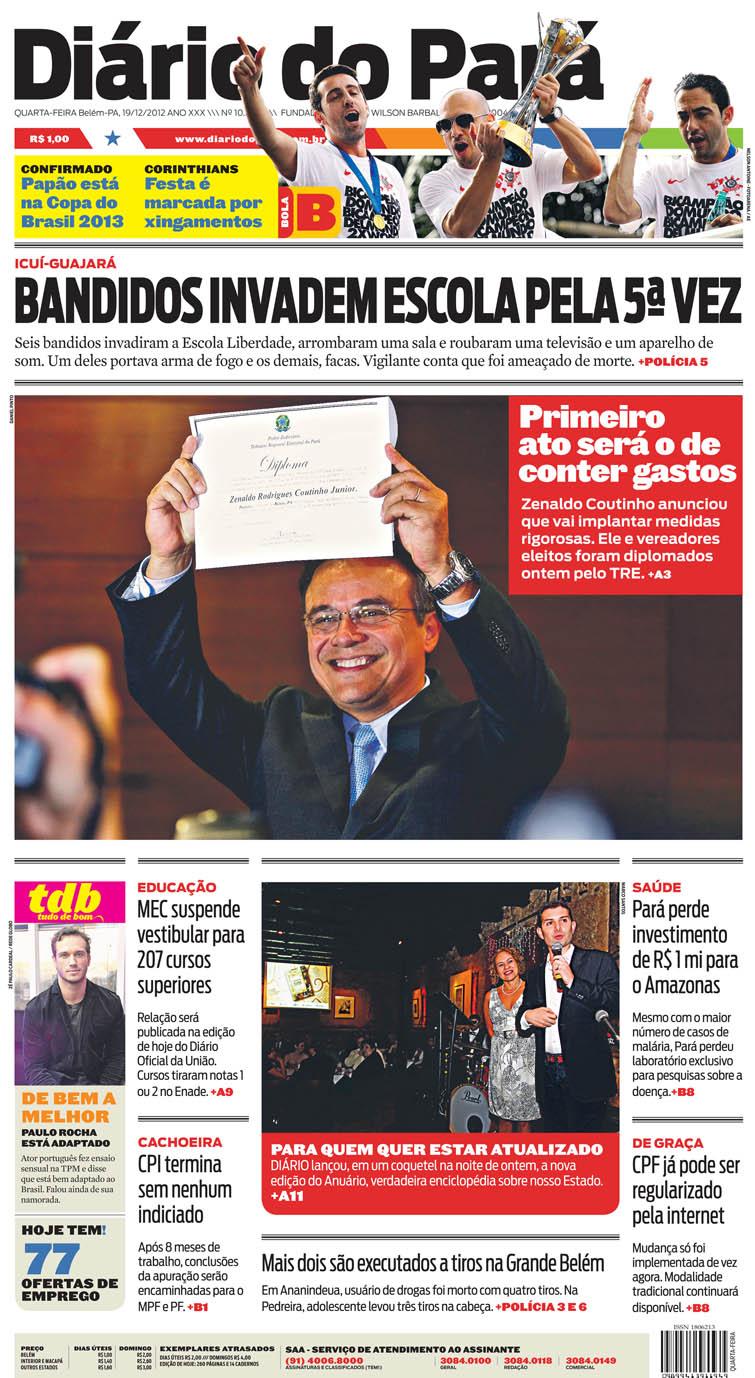 Capa do DIÁRIO, edição de quarta-feira, 19