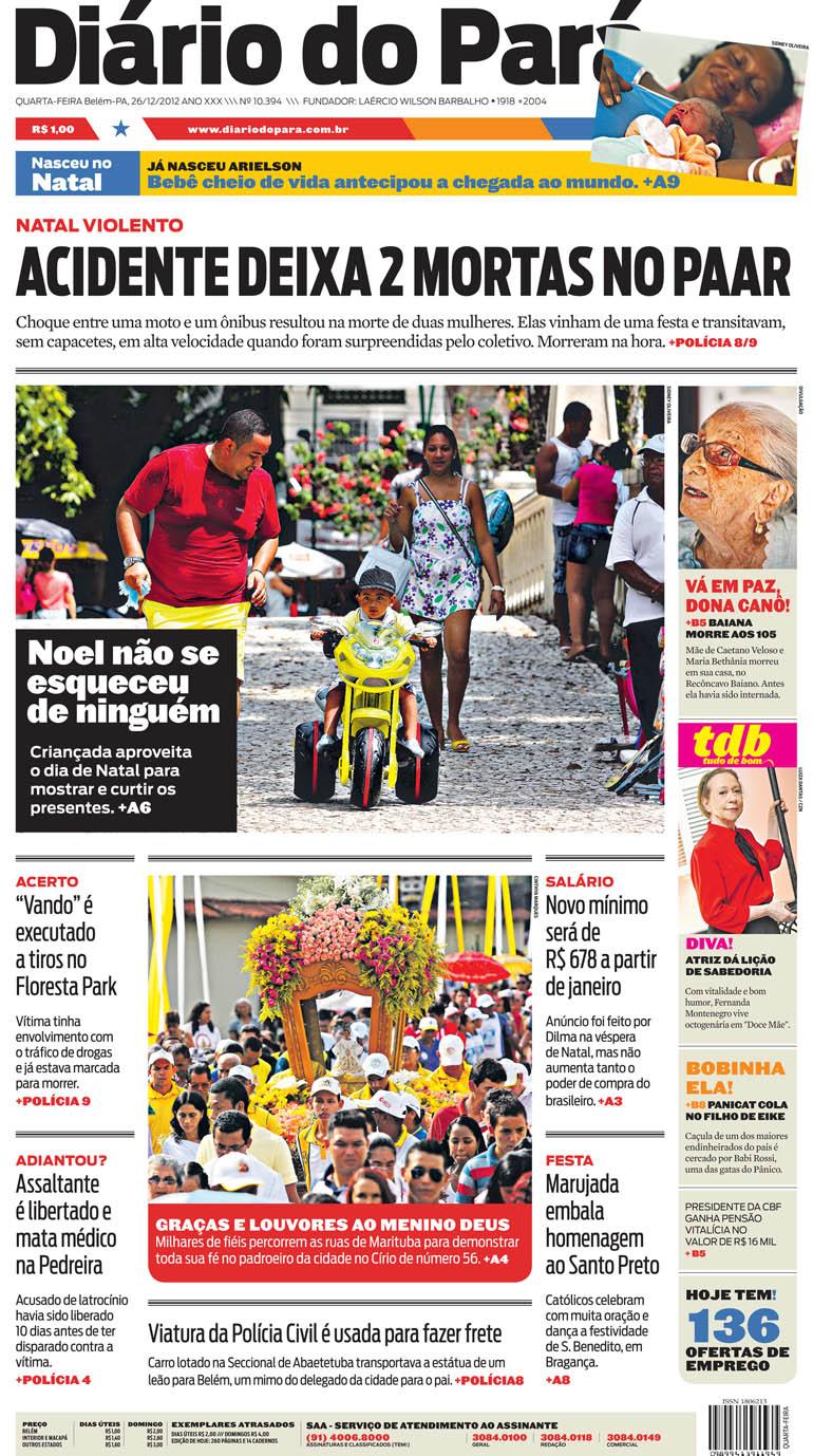 Capa do DIÁRIO, edição de quarta-feira, 26