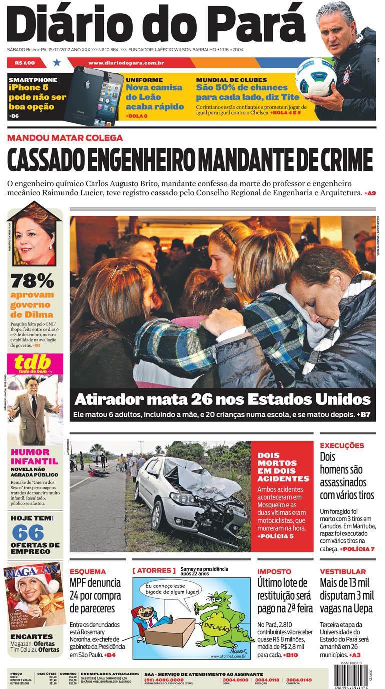 Capa do DIÁRIO, edição de sábado, 15