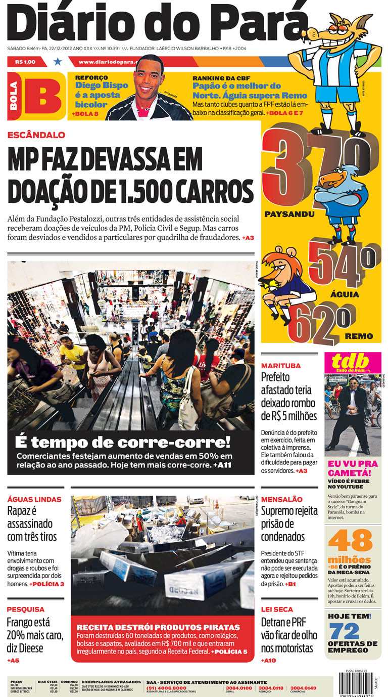 Capa do DIÁRIO, edição de sábado, 22