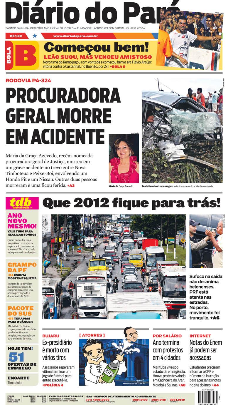 Capa do DIÁRIO, edição de sábado, 29