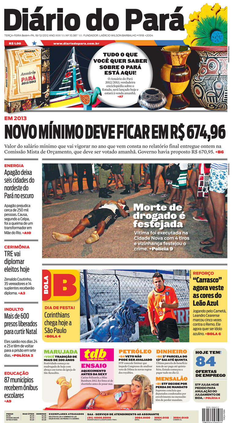 Capa do DIÁRIO, edição de terça-feira, 18