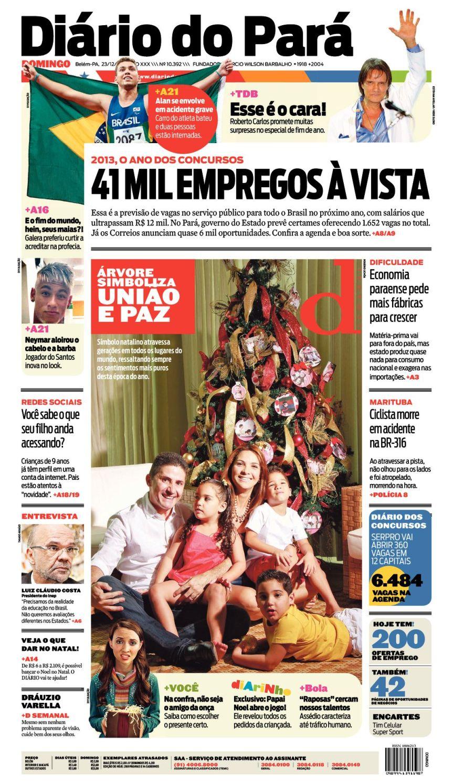 Capa do DIÁRIO, edição de domingo, 23