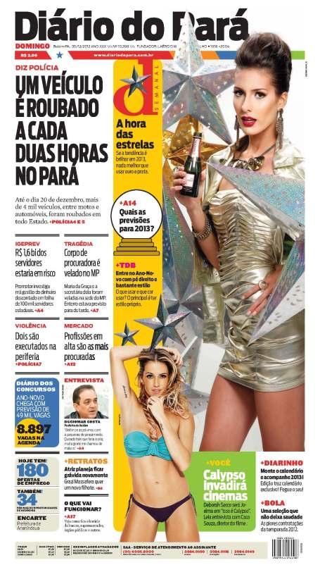 Capa do DIÁRIO, edição de domingo, 30