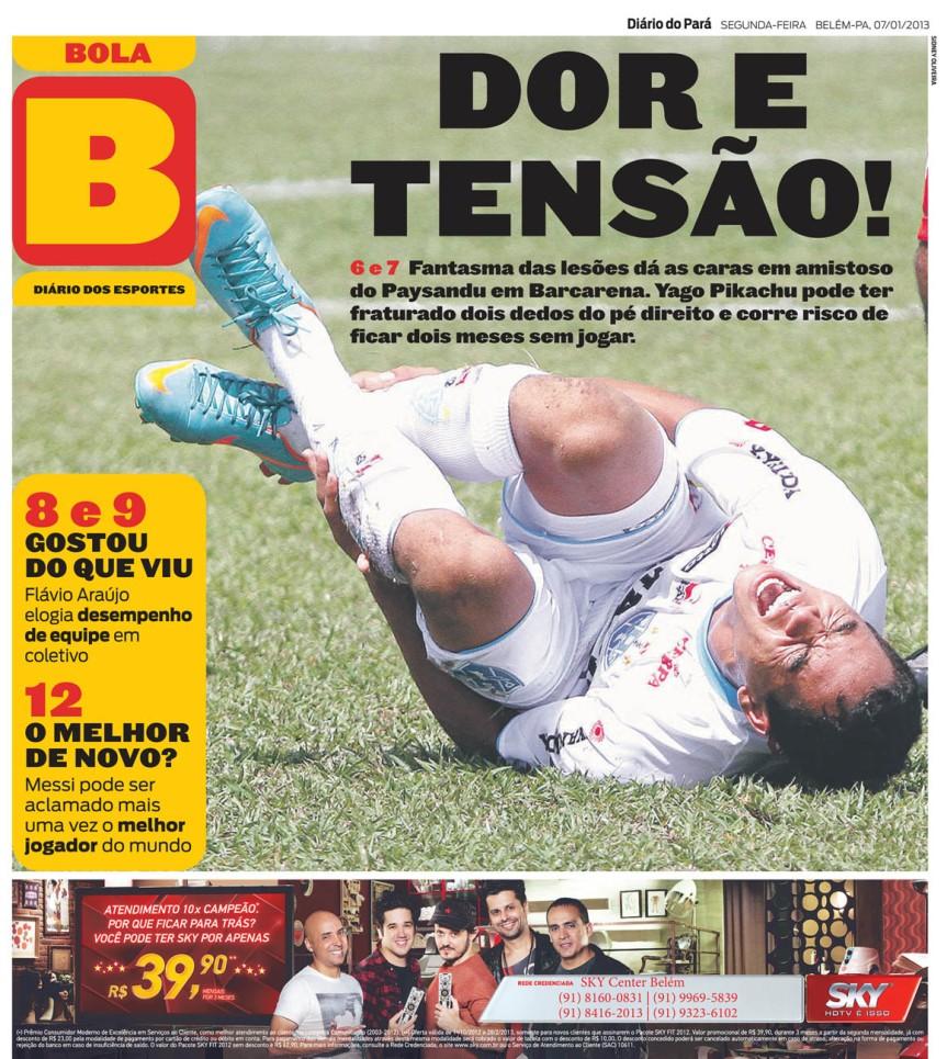 Capa do Bola, edição de segunda-feira, 07