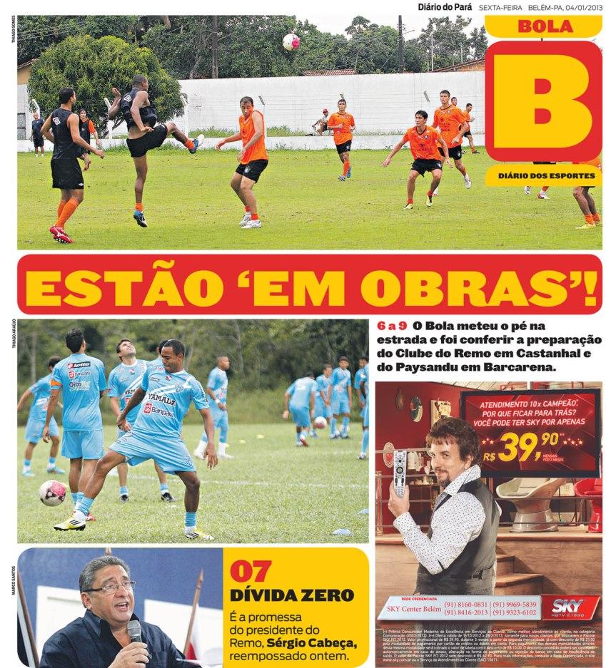 Capa do Bola, edição de sexta-feira, 04