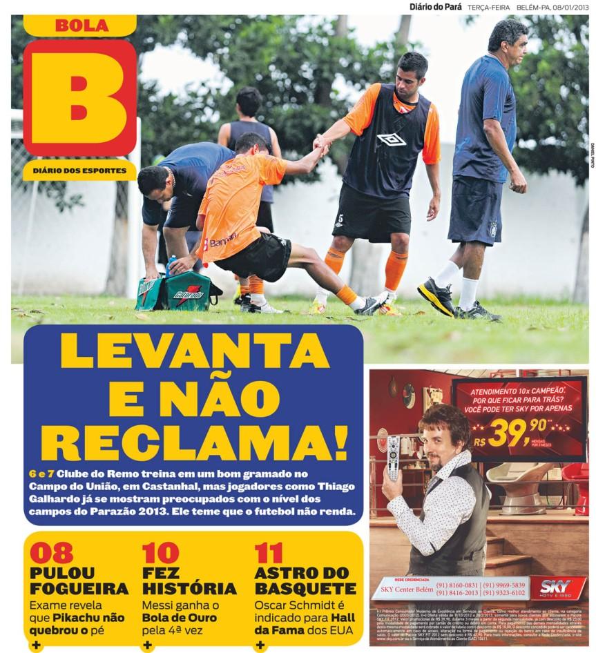 Capa do Bola, edição de terça-feira, 08