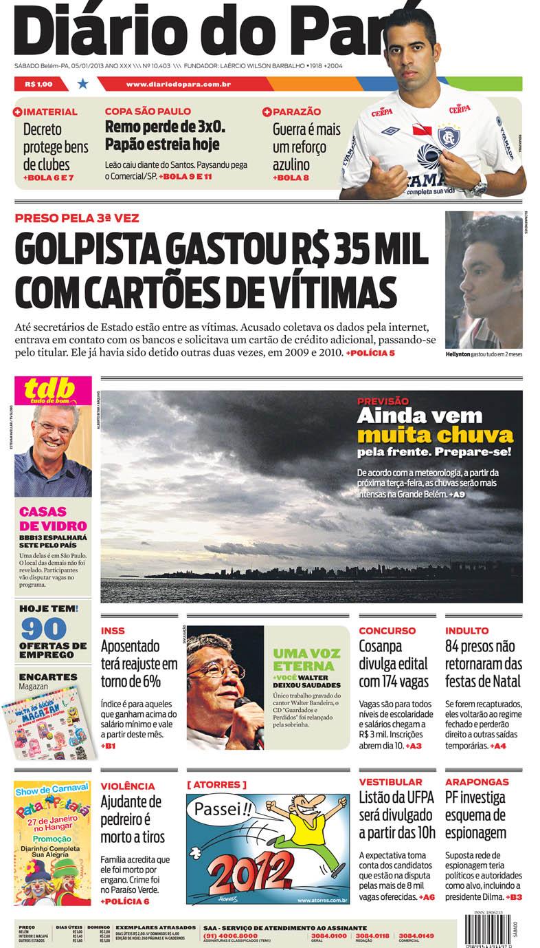 Capa do DIÁRIO, edição de sábado, 05
