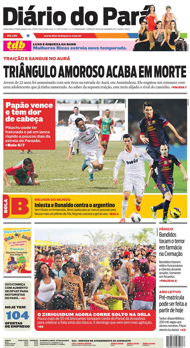 Capa do DIÁRIO, edição de segunda-feira, 07