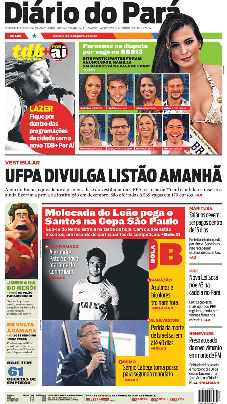 Capa do DIÁRIO, edição de sexta-feira, 04