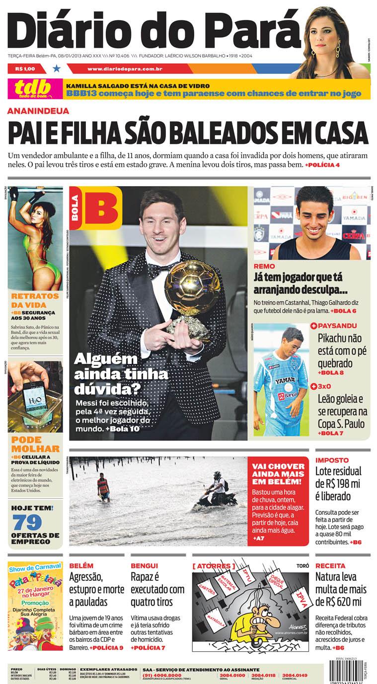 Capa do DIÁRIO, edição de terça-feira, 08