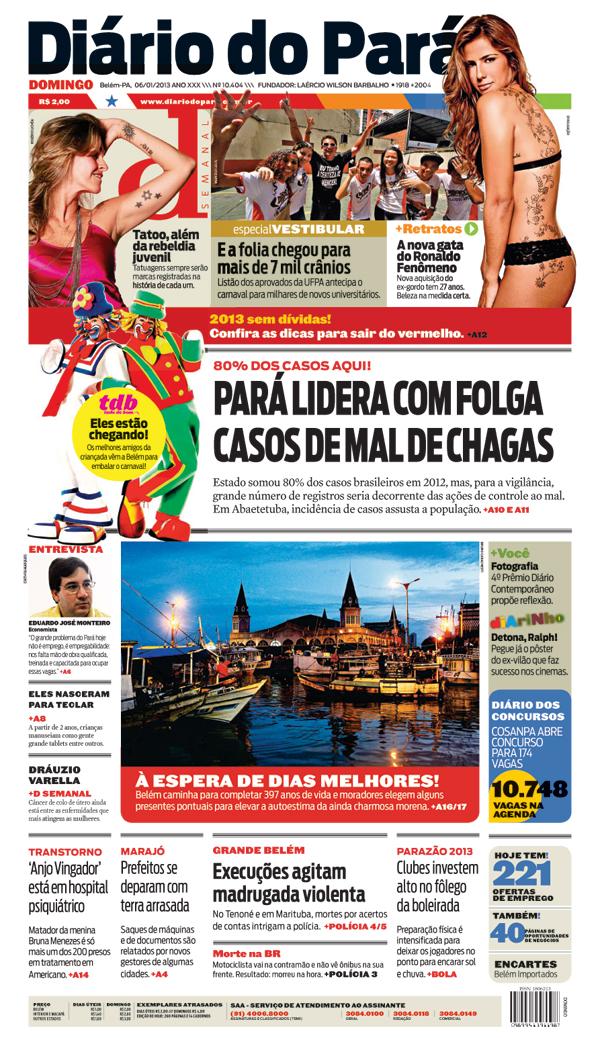 Capa do DIÁRIO, edição de domingo, 06